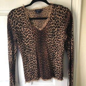 Magaschoni Cashmere Cheetah Top